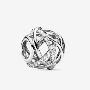 Pandora silver sparkling lines openwork charm